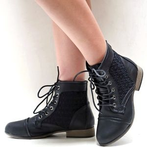 New Black Lace Up Lace Panel Ankle Boots Booties